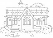 Country House With Bushes, Black And White Vector Illustration In A Cartoon Style For A Coloring Boo poster