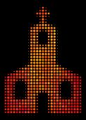 Pixelated Christian Church Icon. Bright Pictogram In Fire Color Tinges On A Black Background. Vector poster