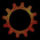 Dot Cogwheel Icon. Bright Pictogram In Fire Color Tints On A Black Background. Vector Halftone Mosai poster
