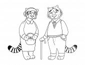 Vector Cute Old Tiger And Tigress Character Isolated On White. Tiger Grandparents poster