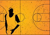 Vector basketball player on orange background (illustration)