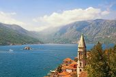 Beautiful Mediterranean Landscape. Montenegro, Bay Of Kotor. View Of Ancient Town Of Perast, Belltow poster