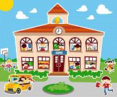 stock photo of school building  - Back to school concept illustration background - JPG