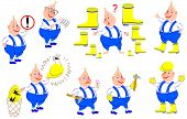 Set Of Illustrations With Rules Of Labor Protection. Vector Cartoon Image. poster