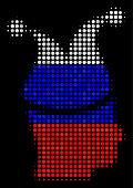 Halftone Joker Pictogram Colored In Russian Official Flag Colors On A Dark Background. Vector Concep poster