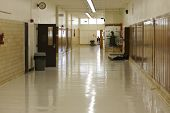 foto of school building  - High school hallway that is mostly empty - JPG