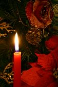stock photo of christmas wreaths  - this is the view of one candlelight and one christmas wreath - JPG