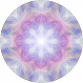 Feminine Eight Segment Pink And Blue Meditation Mandala - Circular Design Soft Pink And Blue Moth Li poster