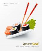 Sushi japanese food with fish and chopsticks on the plate vector illustration