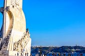 Waterfront With Enormous Monument To The Discoveries (padrão Dos Descobrimentos) In Lisbon, Portugal poster