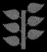 Pixel White Flora Plant Icon On A Black Background. Vector Halftone Composition Of Flora Plant Symbo poster