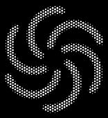Pixel White Galaxy Icon On A Black Background. Vector Halftone Concept Of Galaxy Symbol Created With poster