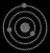 Dot White Solar System Icon On A Black Background. Vector Halftone Concept Of Solar System Pictogram poster