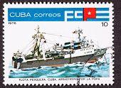 Cuba estampilla atunero Stern Ver Trawler