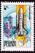 Stamp Space Shuttle Columbia Rocket Launch Tower