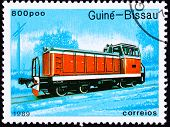 Canceled Guinea-bissau Train Postage Stamp Red Railroad Diesel Engine Locomotive