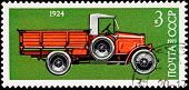 Canceled Soviet Russia Postage Stamp Side View Antique Truck
