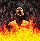 image of torture  - Painted illustration of a screaming man in flames - JPG