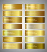 Set Of Gold Gradient Vector Banners Templates Or Website Headers. Vector Design For Your Banners, He poster