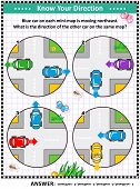 Map Skills Learning And Training Activity Page Or Worksheet: Blue Car On Each Mini-map Is Moving Nor poster