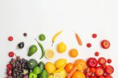 Rainbow Composition With Fresh Vegetables And Fruits On White Background, Flat Lay poster