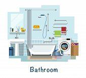 Bathroom. Bathroom Interior. Bath, Washbasin, Faucet, Heated Towel Rail, Mirror, Curtain For The Bat poster