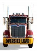 image of semi-truck  - Red truck with Oversize Load banner isolated over a white background - JPG