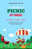 Summer Barbecue Picnic, Vector Poster, Banner Layout. Bbq Grill, Umbrella, Table With Food And Wine  poster