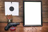 Постер, плакат: Best Shooter Diploma First Place Winner In Shooting Professional Shooter Certificate Mock Up Gun