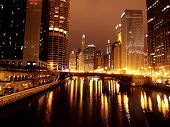 Chicago Night Mich Ave Bridge