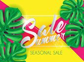 Summer Sale Lettering On Vibrant Papper Background Witn Palm Leaves And Sun Flare poster