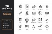 Science Thin Line Icons. Icons For Science Web And User Interfaces poster
