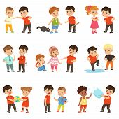 Brave Children Characters Confronting Hooligans Set, Bad Boy Bullying A Smaller Kid Vector Illustrat poster