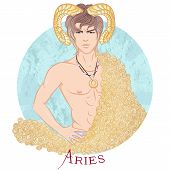 Zodiac. Vector Illustration Of The Astrological Sign Of Aries As A Beautiful Man With A Naked Torso. poster