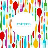 Cutlery Colorful Pattern Invitation
