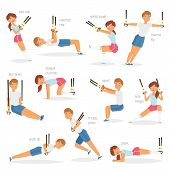 Fitness Trx Exercises Vector Sportsman Character Woman Or Man Exercising In Gym For Workout Or Sport poster