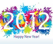 New Year's Card 2012 With Colorful Drops And Sprays On A White Background. Vector Illustration.