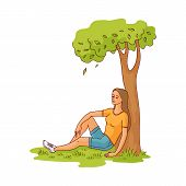 Young Slim Woman Sitting Under Green Tree On Summer Grass Smiling Having Rest, Relaxing After Work O poster