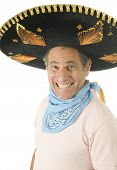Middle Age Senior Tourist Male Wearing Mexican Somebrero Hat Cowboy Bandana
