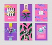 Abstract Tropical Poster Templates Set With Palm Leaves And Geometric Elements. Hipster Fashion 80s- poster