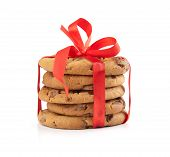 Christmas Chocolate Cookies Tied Red Ribbon