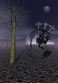 foto of golgotha  - Three crosses for Golgotha on earth planet next to a dead tree by night with full moon - JPG
