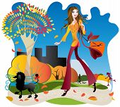 picture of girl walking away  - The girl with the black poodle is an avenue autumn park - JPG