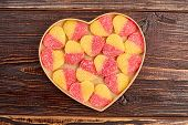Jelly Candies In Heart Shaped Box. Colorful Heart-shaped Jelly Sugar Candies In A Heart-shaped Box O poster