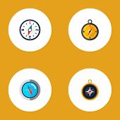 Icon Flat Direction Set Of Divider, Measurement Dividers, Compass And Other  Objects. Also Includes  poster