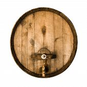 foto of stopcock  - Old wooden barrel with a stopcock isolated on a white background - JPG