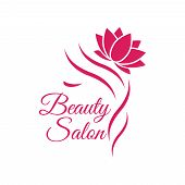 Beautiful Woman Logo Template For Hair Salon, Beauty Salon, Cosmetic. Background Hair Salon poster