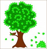 Green tree with nest