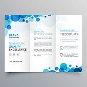 Stylish Creative Blue Circles Trifold Brochure Template poster