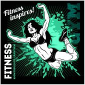 Fitness - Motivational And Inspirational Illustration. For Print On T-shirt And Bags poster